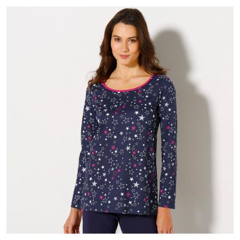 Blancheporte Tričko s dlouhými rukávy a potiskem hvězd, bavlněný žerzej námořnická modrá