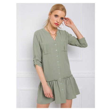 RUE PARIS Gray and green shirt dress Fashionhunters