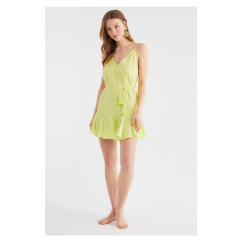 Trendyol Yellow Lacing Detailed Voile Beach Dress