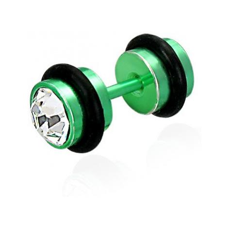 Falešný piercing v zeleném barevném provedení - broušené čiré zirkony, černé gumičky Šperky eshop