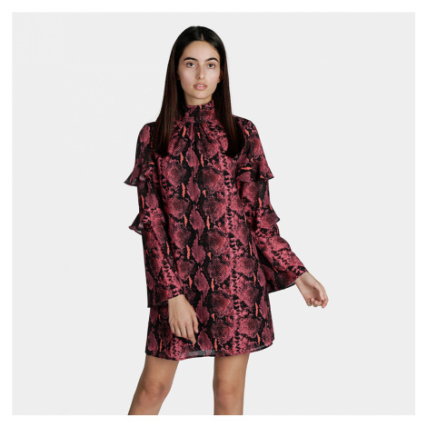 Guess dámské bordové šaty se vzorem
