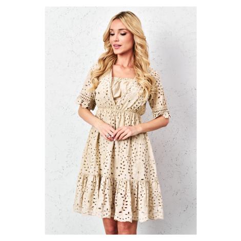 Béžové boho šaty 6709