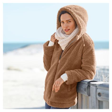 Blancheporte Buklé kabát s kapucí, na zip karamelová