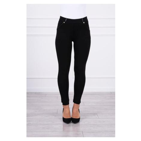 Cotton pants with hem at the pockets black Kesi
