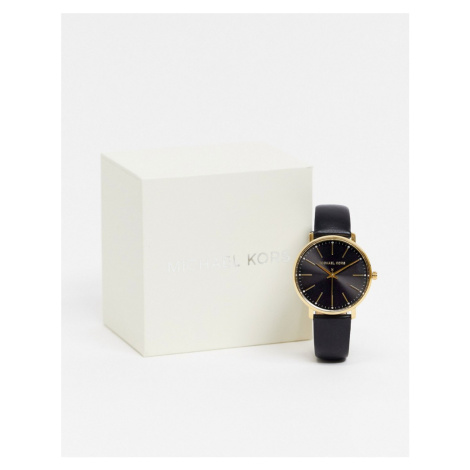 Michael Kors Pyper black leather watch MK2747