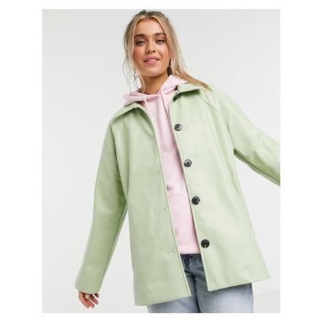 Monki Dalia faux leather jacket in dusty green