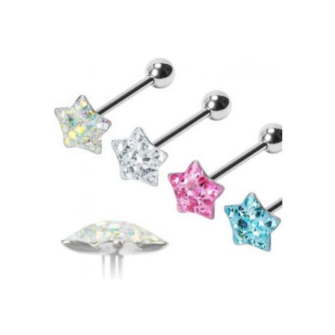 Piercing do jazyka Puffy Star - Barva piercing: Růžová