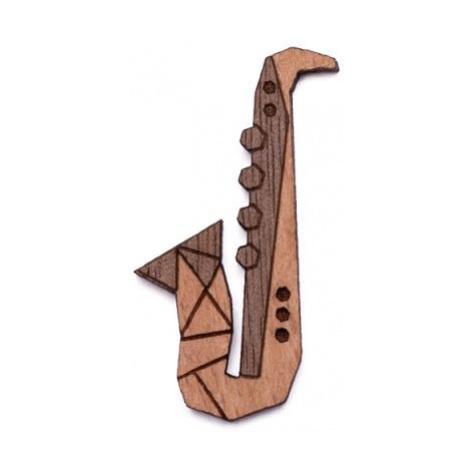 Dřevěná brož Saxophone Brooch BeWooden