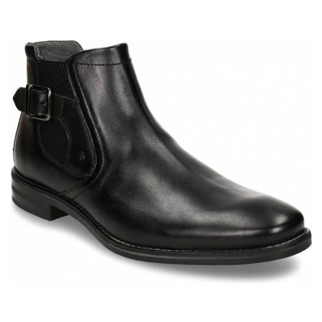 Černá pánská kožená kotníková obuv s přezkou Bugatti