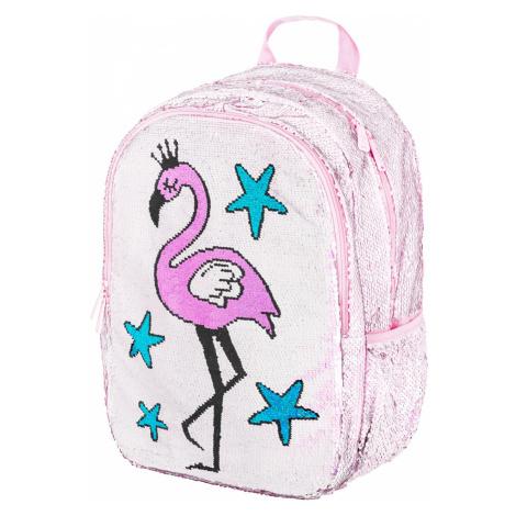 Růžový flitrový zipový školní batoh pro holky s motivem plameňáka Nydia Baagl