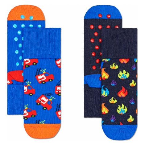 2-Pack Kids Firetruck Anti Slip Happy Socks