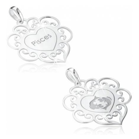 Přívěsek ze stříbra 925, znamení zvěrokruhu RYBY, srdce s ornamenty Šperky eshop