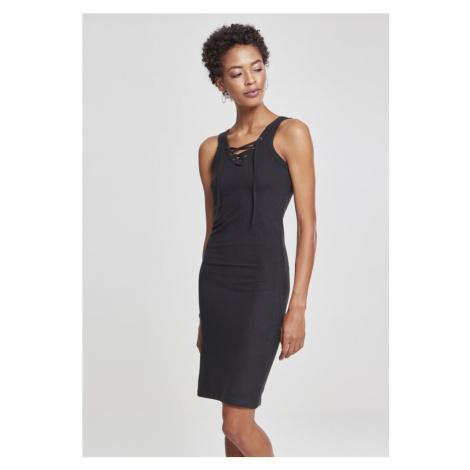 Ladies Lace Up Dress - black Urban Classics