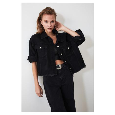 Trendyol Black Skirt Tip Tasseled Crop Denim Jacket