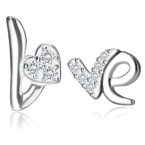 Stříbrné náušnice 925 - motiv Love, srdíčko a písmeno se zirkony, puzetky Šperky eshop