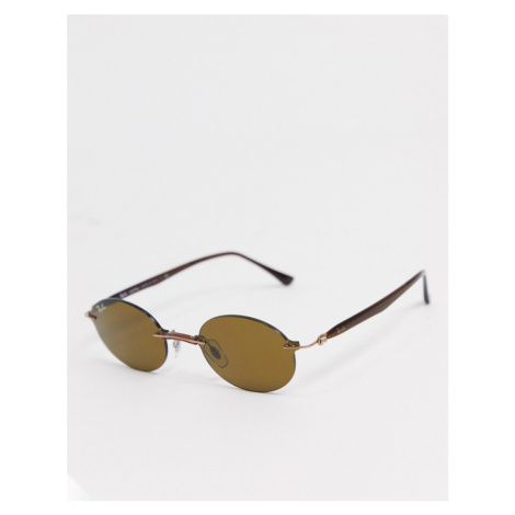 Rayban rimless slim oval sunglasses in brown Ray-Ban