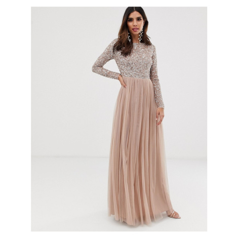 Maya Bridesmaid long sleeve maxi tulle dress with tonal delicate sequins in taupe blush-Pink