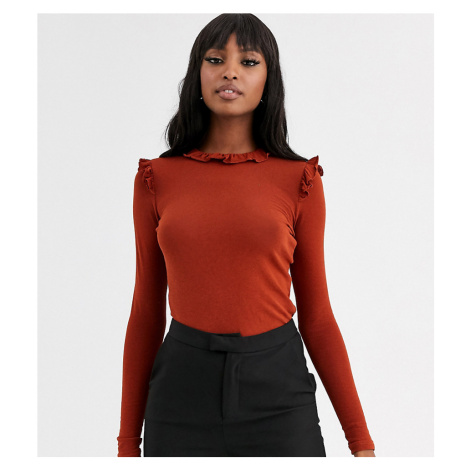 Y.A.S Tall Arils frill long sleeve top-Orange