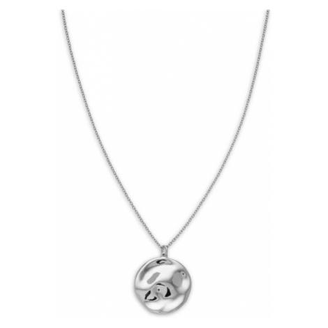 Rosefield náhrdelník Iggy Textured Coin Necklace Silver