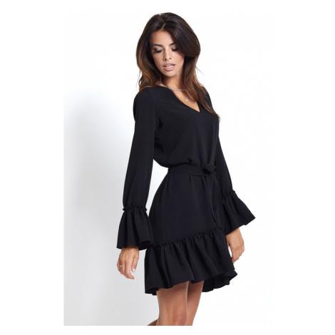 Dámské jednoduché šaty v černé barvě s volánky 223 IVON