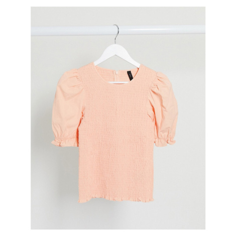 Y.A.S shirred top with puff sleeves in peach-Pink