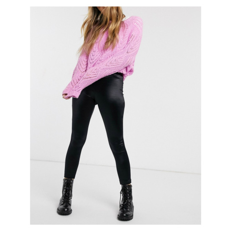 Miss Selfridge satin leggings in black
