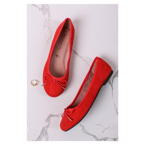 Červené semišové baleríny 1-22111 Tamaris