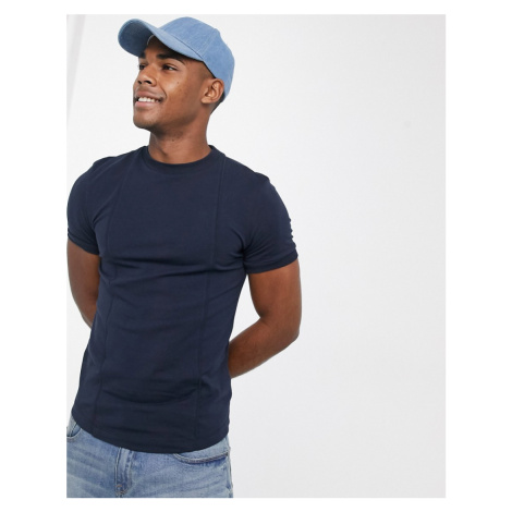 ASOS DESIGN muscle fit smart t-shirt with pintuck in navy