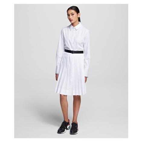 Šaty Karl Lagerfeld Shirt Dress W/ Logo Belt - Bílá