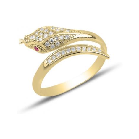 OLIVIE Stříbrný prsten HAD GOLD 3909