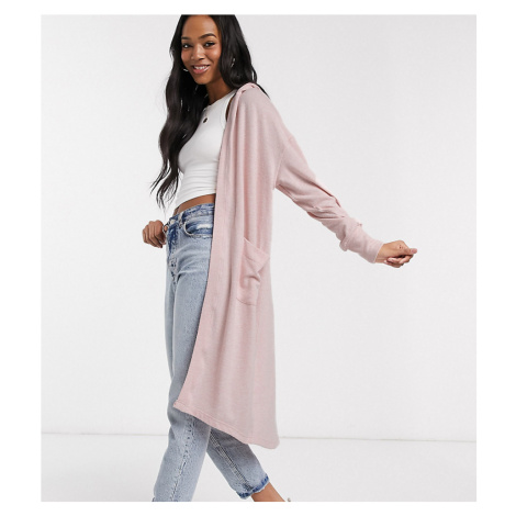 M Lounge longline cardigan with hood-Pink