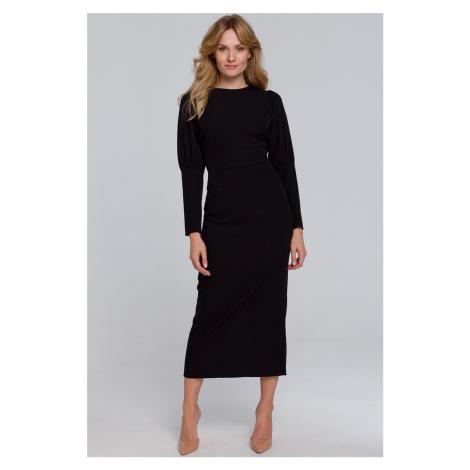 Černé midi šaty s výstřihem na zádech K079
