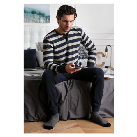 Pánské pyžamo Cotonella DU388 Tm. modrá
