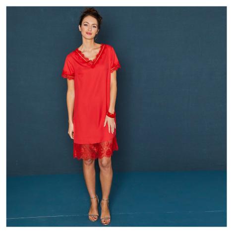 Blancheporte Krátké šaty s krajkovým zakončením červená