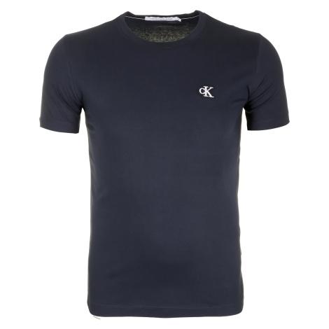 Pánské tmavě modré tričko s malým vyšitým logem Calvin Klein