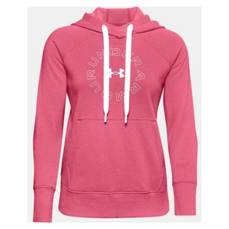 Under Armour Rival Fleece Metallic Hoodie Dámská mikina 1356323-668 Pink Lemonade