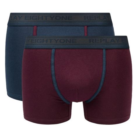 Replay Boxerky Boxer Style 6 Cuff Logo&Contrast Piping 2Pcs Box - Dark Blue/Bordeaux