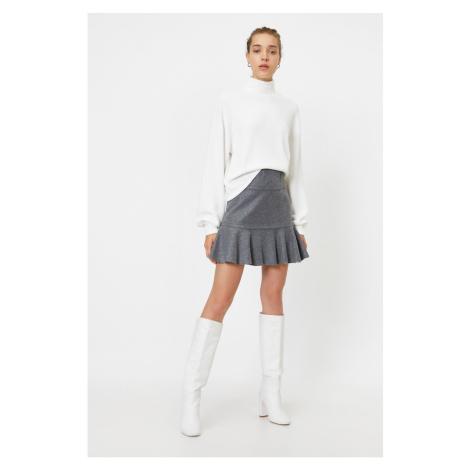 Koton Women Gray Pleated Mini Skirt