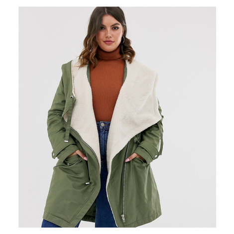 ASOS DESIGN Curve waterfall parka with borg lining in khaki-Pink