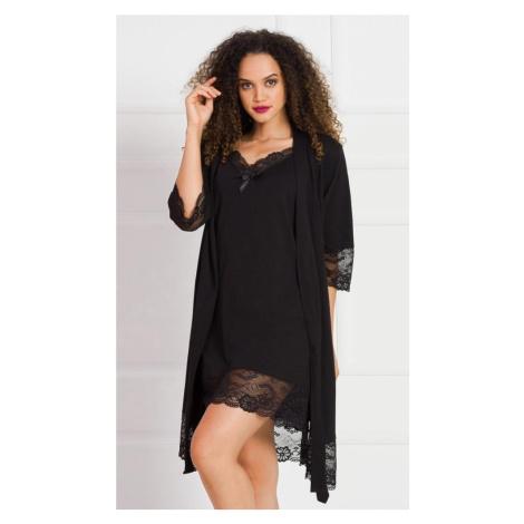 Dámský župan s noční košilí na ramínka Cindy, XL, černá Vienetta Secret
