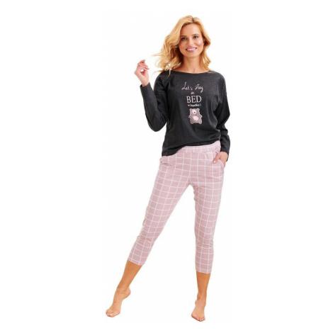 Dámské pyžamo Molly tmavě šedé s růžovým medvědem Taro