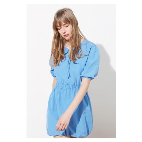Trendyol Blue Tie Detailed Balloon Skirt Dress