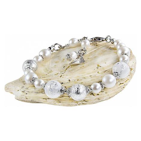 Lampglas Elegantní náramek White Romance s perlami Lampglas s ryzím stříbrem BV1