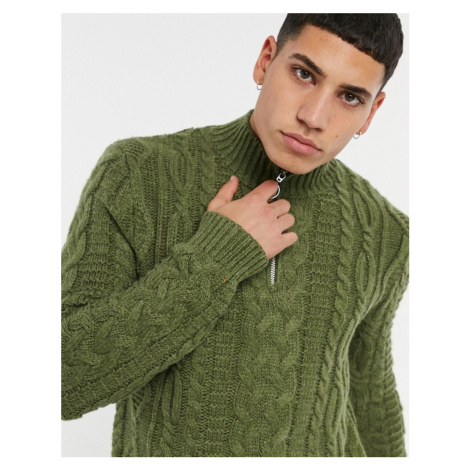 ASOS DESIGN heavyweight cable knit half zip jumper in khaki-Green