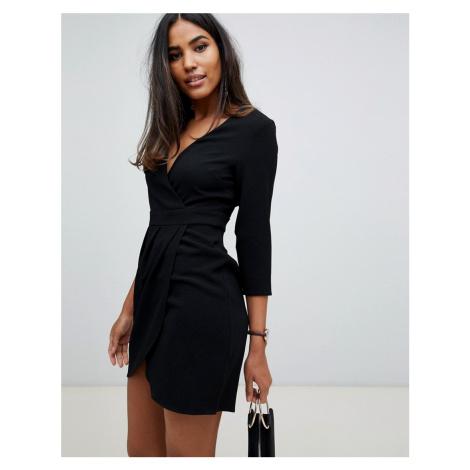 ASOS DESIGN mini dress with wrap skirt in black