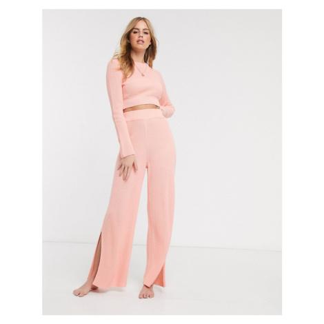 ASOS DESIGN lounge knitted split side trouser-Pink