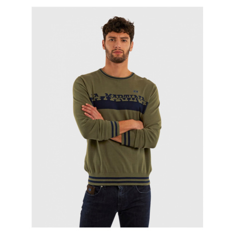 Svetr La Martina Man Cotton Crew Neck Gg14 - Zelená