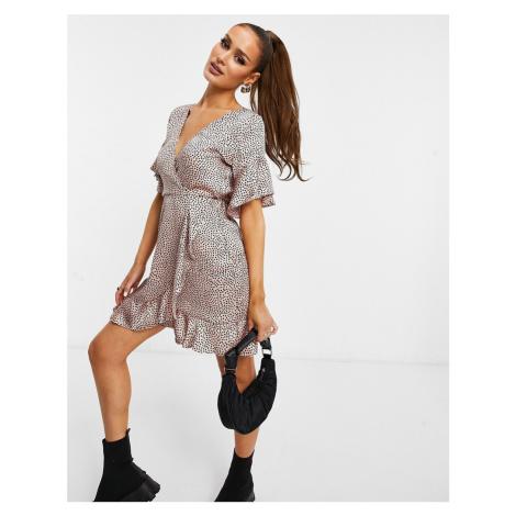 AX Paris ruffle wrap dress in ditsy spot-Multi