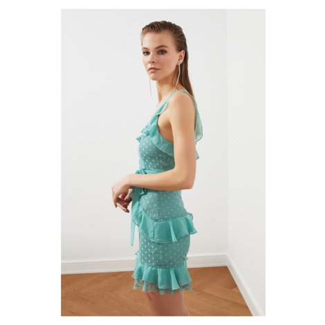 Trendyol Mint Flywheel Polka veil Dress