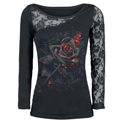 Spiral Burnt Rose dívcí triko s dlouhými rukávy černá